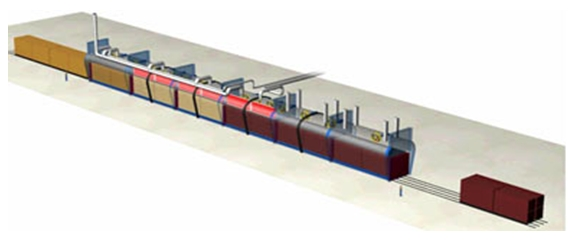 Scheme of six-chamber tunnel